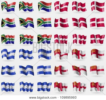 South Africa, Denmark, Honduras, Sark. Set Of 36 Flags Of The Countries Of The World.