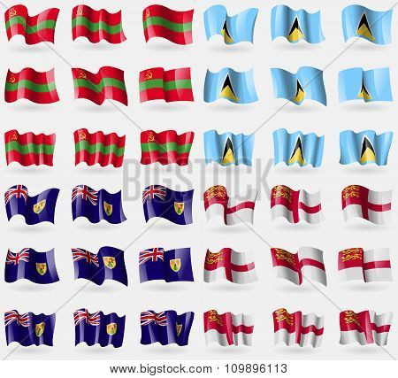 Transnistria, Saint Lucia, Turks And Caicos, Sark. Set Of 36 Flags Of The Countries Of The World.