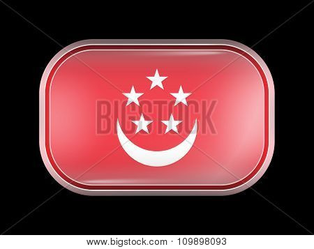 Singapore Variant Flag. Rectangular Shape With Rounded Corners