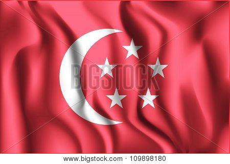 Singapore Variant Flag. Rectangular Shape Icon