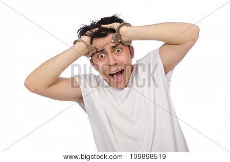 Funny man suffering from mental disorder