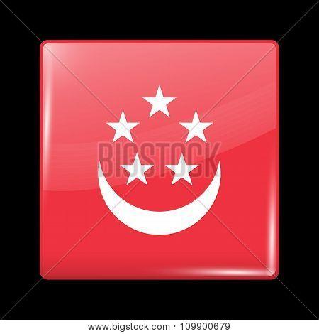 Singapore Variant Flag. Glassy Icon Square Shape