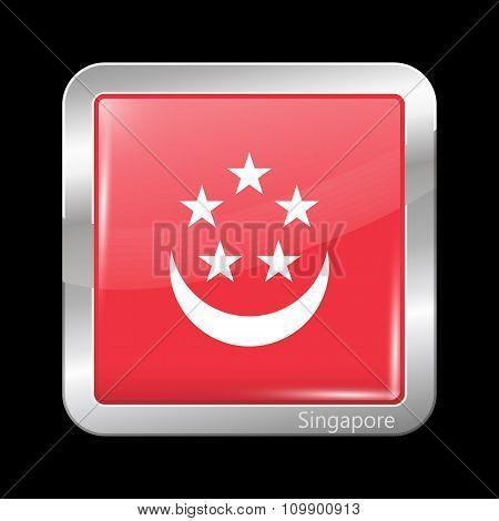 Singapore Variant Flag. Metallic Icon Square Shape