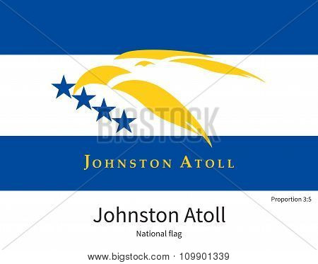 National flag of Johnston Atoll with correct proportions, element, colors for education books and official documentation poster