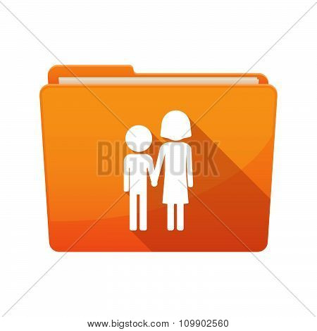 Illustration of a long shadow binder with a childhood pictogram poster