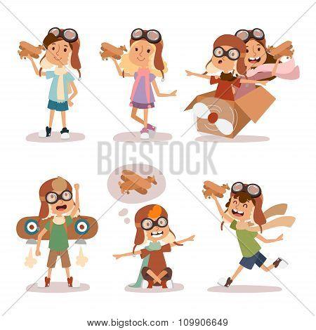 Small cartoon vector kids playing pilot aviation, dreams
