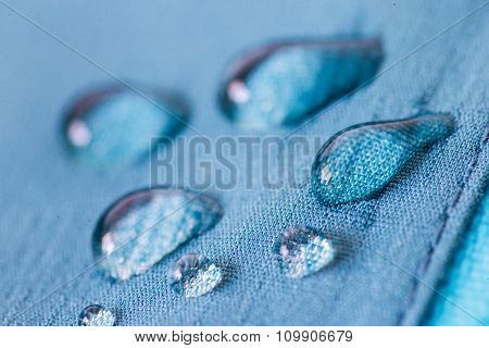 Waterproof textile with water droplets being repelled