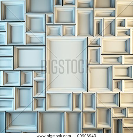 A 3d render illustration blank template layout of white empty frames at wall. Empty copy space to place your photo, picture or logo.