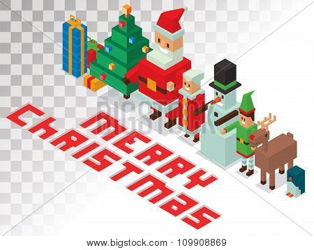Santa, Missis Claus, helpers family isometric 3d  icons vector illustration