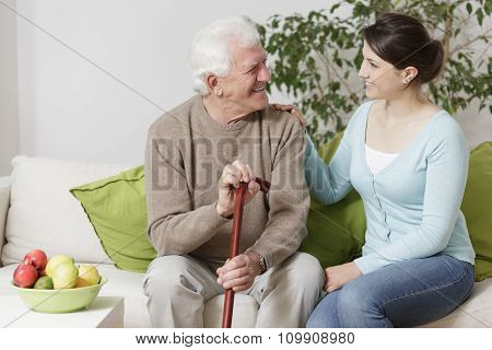 Old Man Holding A Cane
