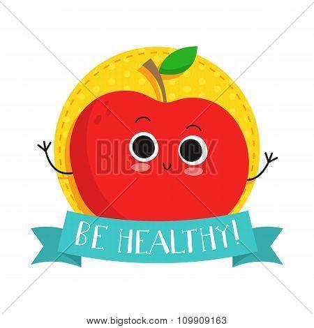 Apple, Cute Fruit Vector Character Bagde