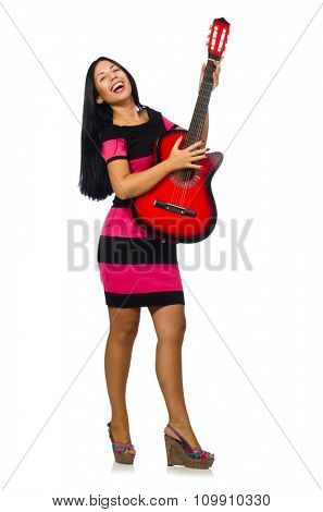 Young woman playing guitar on white