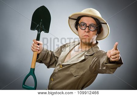 Funny man with the spade
