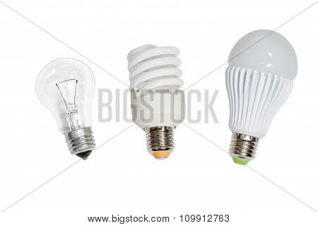 Three Bulbs On White