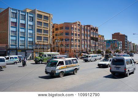 Ordinary Traffic In The Streets Of La Paz, Bolivia