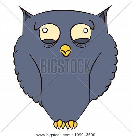 Tired dark blue owl