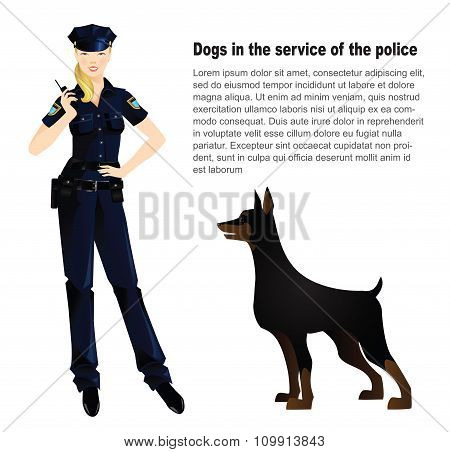 policewoman in uniform and police dog