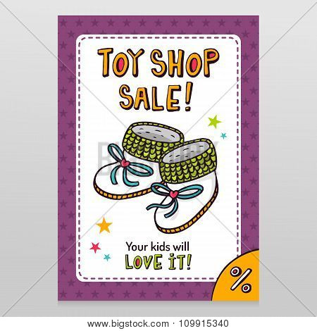 Toy Shop Vector Sale Flyer Design With Baby Booties