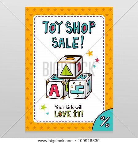 Toy Shop Vector Sale Flyer Design With Toy Blocks For Learning Letters, Numbers And Shapes