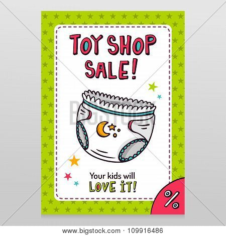 Toy Shop Vector Sale Flyer Design With Baby Diaper