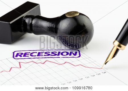 Close Up Of Recession Stamp And Graph