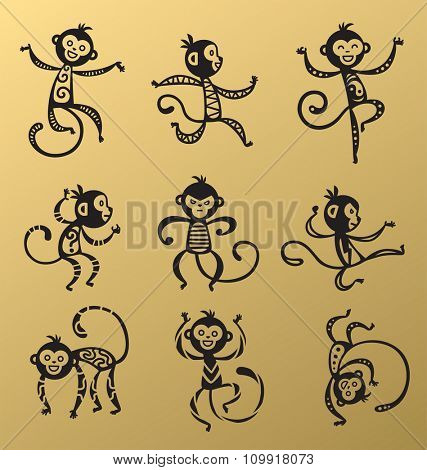 Chinese New Year monkey vector decoration icons. 2016 new year monkey cartoon chinese style. Happy monkey vector for New Year China design. Chinese Monkey vector illustration. Monkey black, white icon