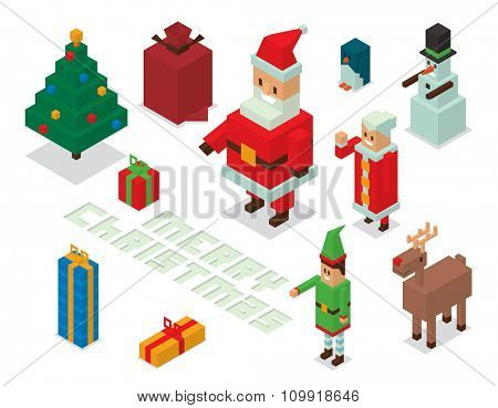 Santa Claus, Missis Claus, helpers family isometric 3d  icons vector illustration. Santa Claus, Missis Claus, deer, snowman, elf boy cartoot. Christmas 3d pixel art traditional costume Santa Claus