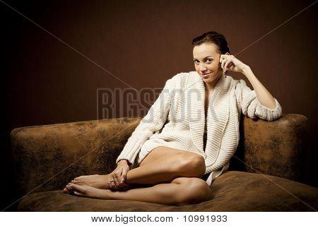 beautiful woman on the sofa