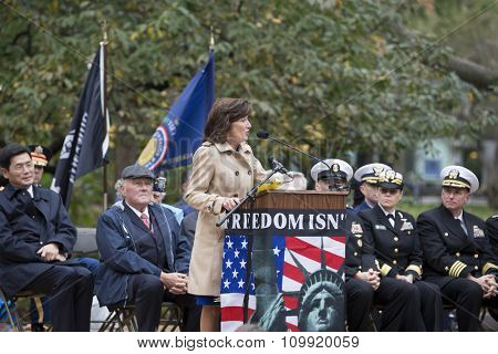 NEW YORK - NOVEMBER 11 2015: Kathleen Hochul, Lt Governor, State of New York speaks to an audience of veterans in Madison Square Park before the annual Americas Parade up 5th Avenue on Veterans Day.