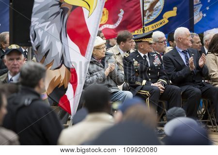 NEW YORK - NOVEMBER 11 2015: Norman Lear, US Army Air Corps World War II vet and Honorary Marshal on stage in Madison Square Park before the annual Americas Parade up 5th Avenue on Veterans Day.