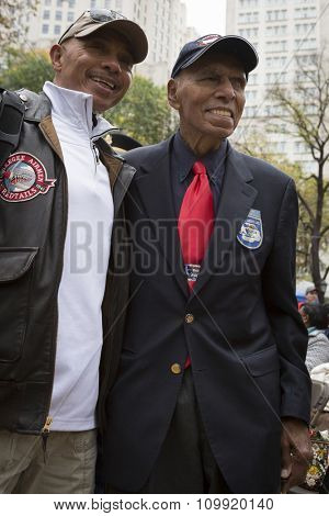 NEW YORK - NOVEMBER 11 2015: Roscoe Brown, 93, squadron commander and pilot with famed Tuskegee Airmen of World War II in Madison Square Park before the Americas Parade up 5th Ave on Veterans Day.