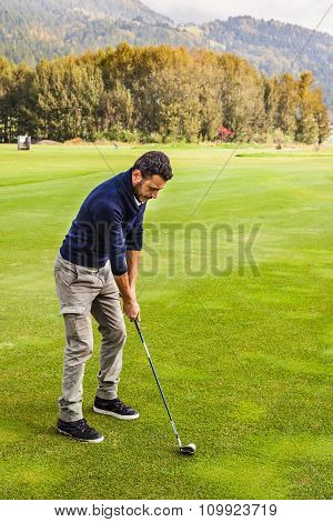 Golf Player Making A Swing