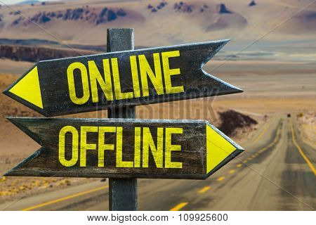 Online - Offline signpost in a desert road background