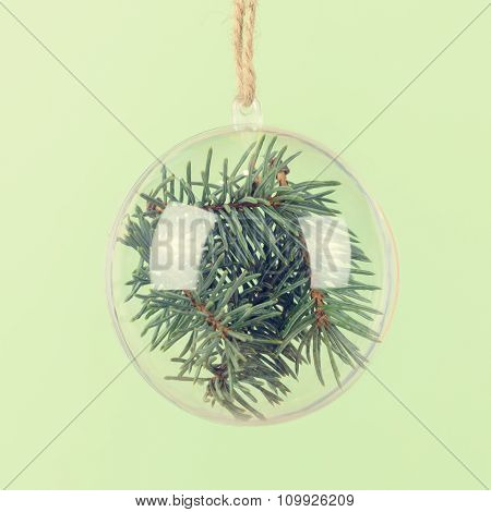 Transparent Christmas Ball With A Blue Spruce Inside