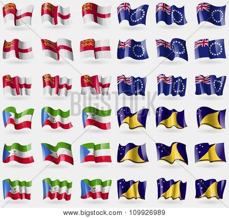 Sark, Cook Islands, Equatorial Guinea, Tokelau. Set Of 36 Flags Of The Countries Of The
