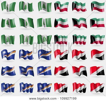 Norfolk Island, Kuwait, Marshall Islands, Sealand Principality. Set Of 36 Flags Of The Countries