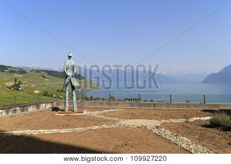 Grandvaux, Switzerland - 8 June 2014: Statute Of Hugo Pratt, An Italian Comic Book Writer Who Moved