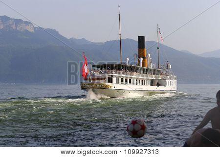 Cully, Switzerland - 8 June 2014: La Suisse Vessel Built In 1910, Belongs To Founded In 1873 Belle E