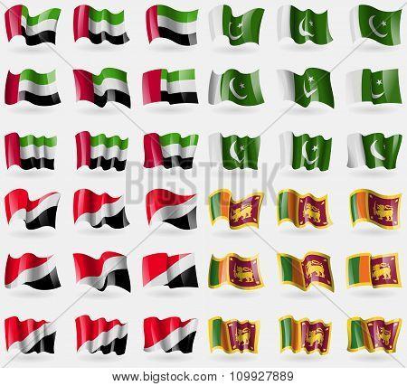 United Arab Emirates, Pakistan, Sealand Principality, Sri Lanka. Set Of 36 Flags Of The Countries