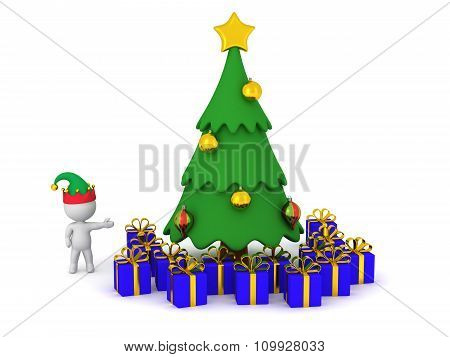 3D Character Showing Cartoonish Christmas Tree With Wrapped Gifts