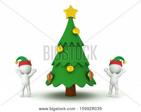 3D Characters With Elf Hats Cheering And Decorated Cartoonish Christmas Tree