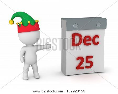 3D Character Showing Tare Off Calendar With December 25