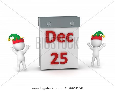 Tare Off Calendar With December 25 And Two Cheering 3D Characters With Elf Hats