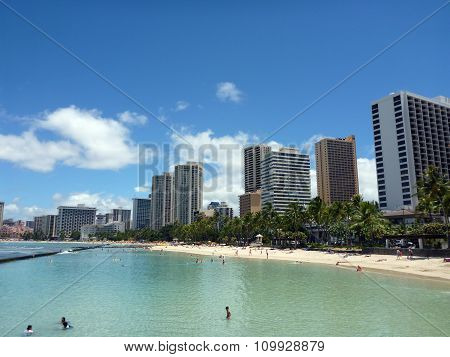 People Play In The Protected Water And Hang Out On The Beach In Waikiki