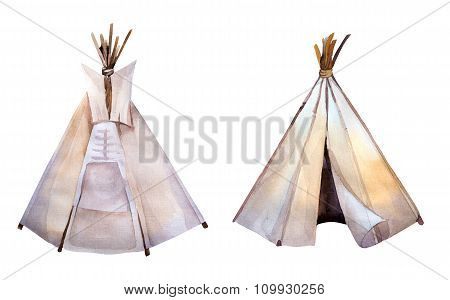 Watercolor teepee. Boho syle images.Ethnic america.
