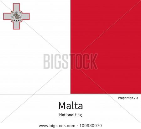 National flag of Malta with correct proportions, element, colors for education books and official documentation poster