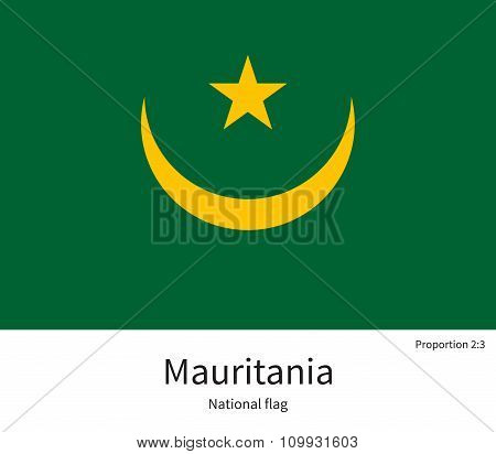 National flag of Mauritania with correct proportions, element, colors for education books and official documentation poster