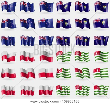 New Zeland, Saint Helena, Poland, Abkhazia. Set Of 36 Flags Of The Countries Of The World.