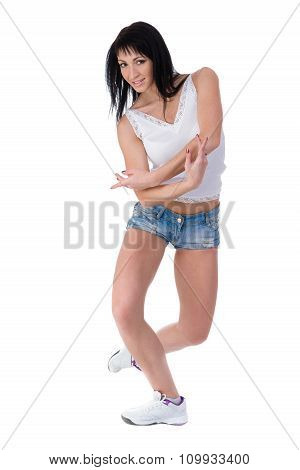 Fitness woman exercising dance class aerobics in full length isolated on white background. Caucasian female model. poster