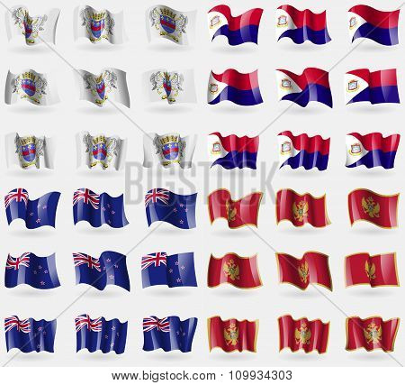 Saint Barthelemy, Saint Martin, New Zeland, Montenegro. Set Of 36 Flags Of The Countries Of The